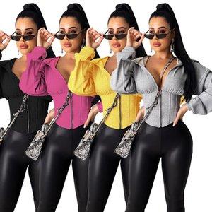 Womens Long Sleeve Zip Hoodies Casual Solid Sweatshirt Slim Corset Sport Workout Gym Female Jacket Tops