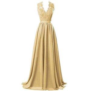 Elegant V Neckline Gold Bridesmaid Dress A-Line Lace Appliques Plus Size Maid of Honor Dresses Bodice Wedding Guest Dresses