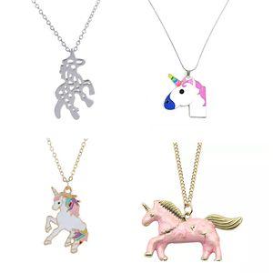 Kızlar Kolye Unicorn Kolye Kolye Karikatür Hourse Takı Aksesuarları Kadın Hayvan kolye Noel Küçük Hediye Fikirleri 4 stilleri