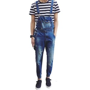 Wholesale-Men's casual pocket light blue denim overalls Slim jumpsuits Ankle banded pants Ripped jeans for man high quality