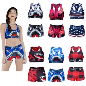 Mujeres chándal de las ligas de verano del chaleco + pantalones cortos de 2 piezas Conjunto de cultivos Mujer Tops Pantalones cortos traje de baño bikini de la playa de ropa S-XL A3212