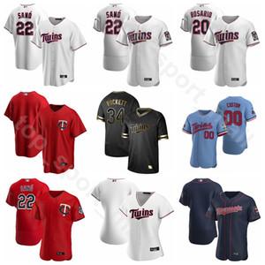 2020 béisbol 8 Mitch Garver Jersey 18 Kenta Maeda 25 Byron Buxton 15 Homer Bailey 54 Sergio Romo Flexbase bajo fresco tela a rayas