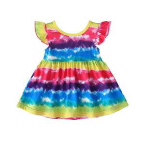 2020 Fashion Girls Rainbow Dress Summer Infant Baby Girls Dress Sleeveless Knee Length Casual Dress Top Quality Colorful Princess Dresses