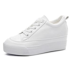 Aumento interno 7 cm Mujer Zapatos blancos Nuevas cuñas Zapatos para mujer Plataforma Zapatos casuales Mujeres estudiantes Zapatillas de deporte salvajes Chunky