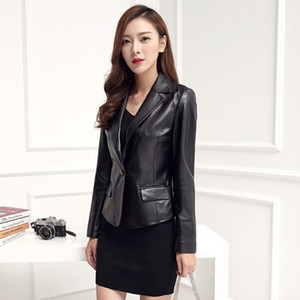 2019 New Autumn Winter Womens Genuine Leather Jacket 한국어 Slim Fit Single Button Outerwear Business Office Lady 한 벌 코트