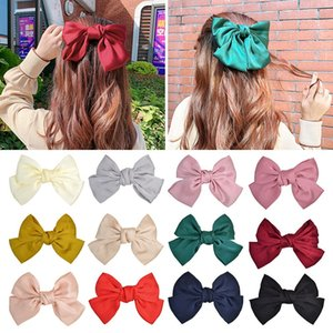 24Pcs 7.8 Inch Solid Satin Big Hair Bows Girls Women Hairpin Hair Clip Kids Hair Accessories Beautiful HuiLin C357