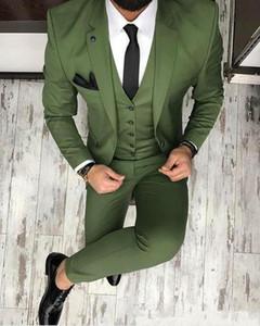 Due bottoni di alta qualità verde oliva wedding smoking smoking notch bavero sposi uomini abiti da ballo formale (giacca + pantaloni + vest + cravatta)