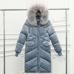 Kadınlar İnce Kapşonlu Coat Uzun Parka Büyük Kürk Yaka Kalın Sıcak Kadınlar OutwearMX190822 için Moda-Olgitum Kış Kadınlar Altın Kadife Bayan Ceket