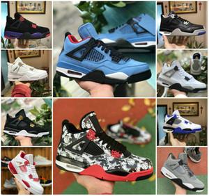 VENDITE 2019 Nuovo tatuaggio 4 Jack Travis Scotts X Mens Basketball Shoes 4s Houston Oiler White Cement NRG Raptors economico Royalty Retro Sneakers