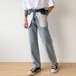 Male Japan Korea Style Streetwear Hip Hop Vintage Fashion Denim Pants Men Design Casual Straight Jeans Trousers