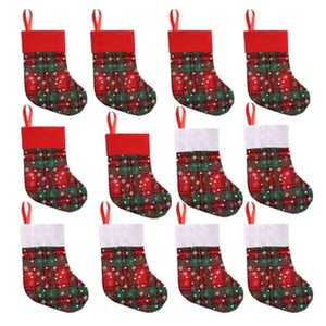 12Pcs Christmas Stockings Gifts Candy Bag Kids Candy Socks Christmas Tree Home Decoration Christmas Tree Hang Pendant Xmas Stock