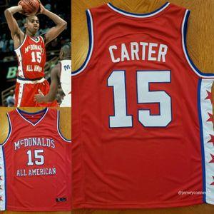 Джерси All-американский баскетбольный Макдональдс красный # 15 Винс Картер ретро Джерси сшитые на заказ размер S-5XL