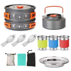 Camping Pan Pot Stoviglie Kit Camping Acqua Cucchiaio Cup con Carry Bag per le attrezzature da picnic backpacking escursionismo