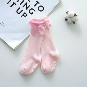 Neue Kinder Kleinkinder Mädchen Big Bow Knee High lange weiche Baumwollspitze Baby-Strümpfe Solid Color Mädchen Strumpfhosen