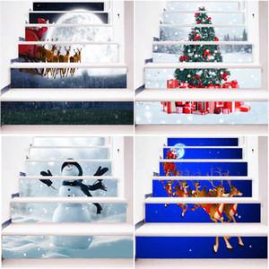3D 6pcs Navidad Escalera pegatinas de Navidad decoración del hogar pegatinas de pared calcomanía de escalera Escalera pegatinas Familia del peldaño Decoración
