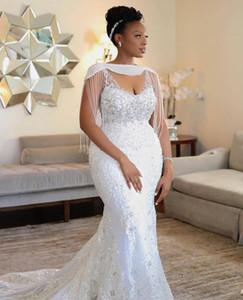 Fait sur mesure sirène Weddding dreses avec Wrap perles en cristal dentelle sexy Appliqued spaghetti robe de mariée africaine