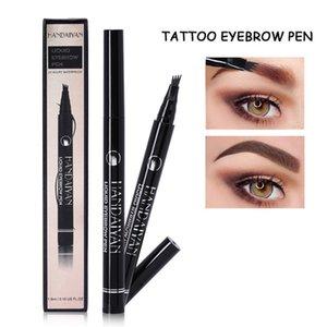 HANDAIYAN 4 Head Fork Liquid Painting brow Tattoo Pencil Black Brown Color Waterproof Henna Natural Eyebrow Makeup Pen