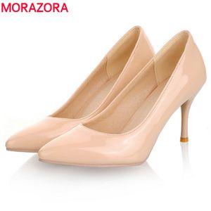 MORAZORA Big Size 34-46 bombas 2019 de Moda de Nova saltos altos mulheres salto fino branco clássico vermelho nua bege sexy ladies sapatos casamento T200111