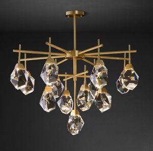 Art Déco diamant moderne Cuivre Or Pierre Cristal Lustre Lustre Suspension Luminaire Lampen Pour Dinning Room LLFA