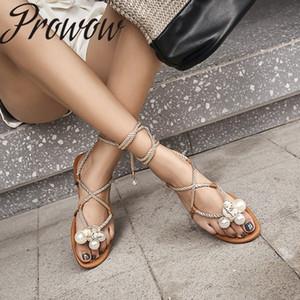 Prowow 2020 neue Art und Weise Schuhe Frauen Perle Zehesandelholze