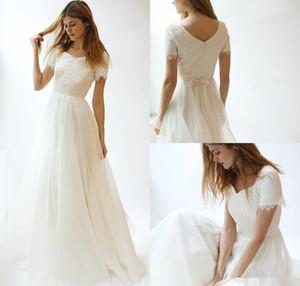 겸손한 간단한 비치 웨딩 드레스 2020 새로운 A 라인 레이스 Appliqued 신부 드레스 짧은 소매 플러스 사이즈 웨딩 드레스 4614