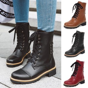 European Style Leather Brown Stiefel Frauen-Dame-Mädchen Riding Cowboy Boots Lace-Up Motorrad-Boots Lace-Up halten warme Schuhe