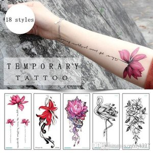 Sexy Red Rose Design Women Impermeabile Body Art Braccio Tatuaggi Temporanei Sticker Leg Flower Falso Tattoo Sleeve Paper Tip Estate sticker costume da bagno