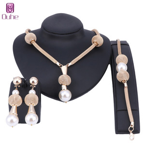 Dubai Imitation Pearl Jewelry Set Simulated Pearl Gold Color Women Earrings Necklace Bracelet Sets For Women Wedding Party Gift