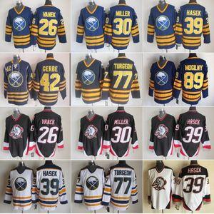 Hommes 30 Ryan Miller Buffalo Sabres Jersey 26 Thoma Vanek 77 Pierre Turgeon 39 Dominic Hasek 42 Nathan Gerbe 89 Mogilny Bleu Blanc Hockey sur glace