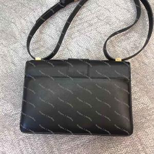 moda clásica en tres dimensiones de bolso de letra en relieve en forma de concha de oro de bloqueo diagonal bolsa con la caja