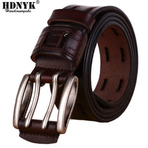 100% High Quality Genuine Leather Belts for Men Brand Strap Male Pin Buckle Fancy Vintage Jeans Cowboy Cintos Y200520