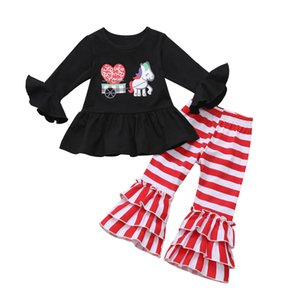 Süßes Kleinkind-Baby-Valentinstag Kleidung Top Striped Flares Outfits