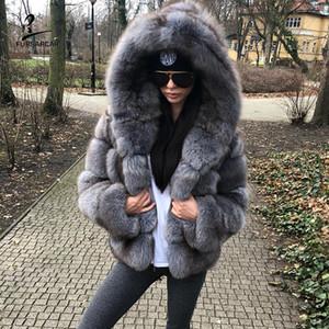 FURSARCAR Grau Blau Box Pelz-Winter-Jacken und Mäntel Frauen mit Kapuze Art und Weise Luxus echten natürlichen Pelz Weibliche Oberbekleidung Cloth