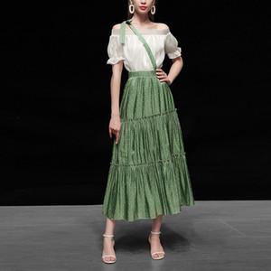Seifrmann 2020 New Summer Fashion Suit Women's Flare Sleeve Slash Neck Elastic Waist Office Lady Skirts 2 Two Pieces Set