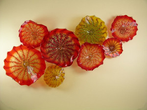 Italian Dale Chihuly Murano Glass Plates Blown Glass Wall Art Flower Plate Chihuly Style Wall Lights
