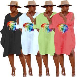 Женщины дизайнер платья разделить миди юбки лета одежды рот печать футболки платья с коротким рукавом свободные платья горячее надувательство плюс размер 893