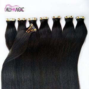 "12-26"" Seamless Skin Weft Tape In On Human Hair Extensions Remy Human Tape Hair Extension Natural Black Brown Blonde 100g 40pcs"