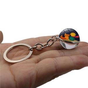 Clássica do conto de fadas Keychain frente e verso Bola de vidro pequeno príncipe chave anelar saco chaves do carro pendurado pingente Crianças Mulheres presente HHA1189