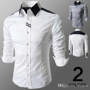 Mens Solid Dress Shirts Autumn Spring Male Shirt Turn Down Collar Drss Shirt