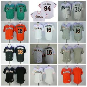 Vintage Baseball 8 Andre Dawson Jersey 16 Jose Fernandez 35 Dontrelle Willis 94 Bad Lapin Avec Drapeau de Portoricain Retire Flexbase cool base