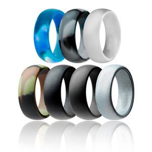 7pcs / set 8mm Silicone Ring hipoalergénicos flexíveis Sports anéis de dedo confortáveis 8mm FDA Wedding Band borracha para mulheres dos homens