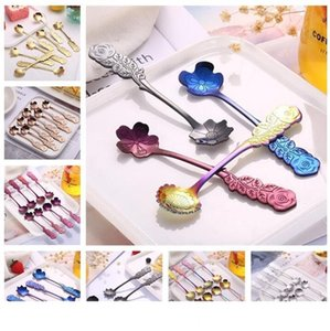New arrive rose handle flower spoon multicolor 8 styles flower shapd coffee spoon wedding mixing spoons