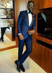 Navy Blue Groom Tuxedos Black Shawl Lapel Groomsmen Wedding Tuxedos Excellent Men Formal Dinner Party Prom Blazer Suit(Jacket+Pants+Tie)121