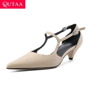 QUTAA 2020 Sexy Pointed Toe Buckle Women Sandals Square Heel Fashion Ladies Shoes Cow Leather Summer Women Pumps Size 34-39