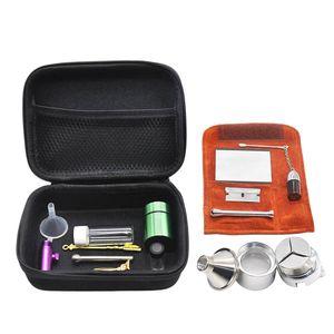 Kits de tuberías con 12 piezas Molinillo de hierbas Tabaco de pastillas Botella Snorter Dispensador Caja nasal Almacenamiento de contenedores Fumar Bolsa de transporte