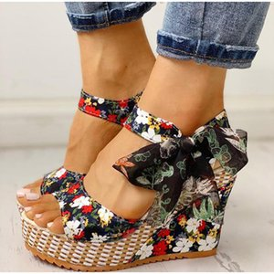 Lucyever Summer Beach Boho Floral Wedge Sandales femmes boucle cheville plateforme Gladiator Chaussures Femme Talons Sandalias Mujer 2020