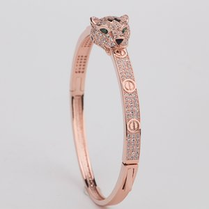 Animal diamant Bangle Femme léopard tête Bangles femmes Charms vintage de Valentine'S Day Beaux Bijoux en solde