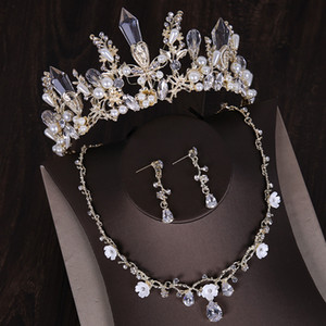 Luxury 2019 Wedding Bridal Jewelry Sets Pageant Crown and Tiara Rhinestone Drop Plated Necklace and Earrings Pendant Free Shipping