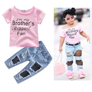 2pcs Set Kids Baby Girls Pink T-Shirt Tops Summer Autumn Mesh Hole Denim Pants Jeans Harem Leggings Outfits Clothes