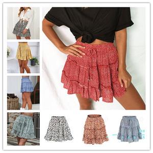 Sommer-Frauen Kleider kurz Flora Punkt gedruckt Röcke mit hoher Taille Kleider Lotus Blattrand elastische Taillen-Kleid-Dame Trendy Kleidung Hot LY330